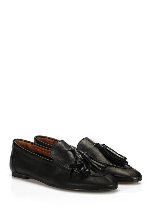 İnci Hakiki Deri Loafer Ayakkabı Siyah
